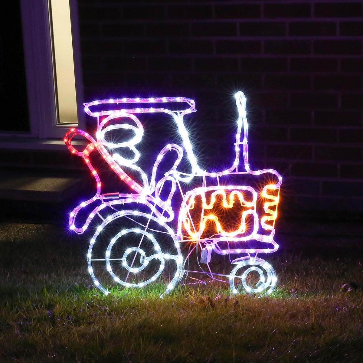 62cm Outdoor Animated Rope Light Christmas Santa On