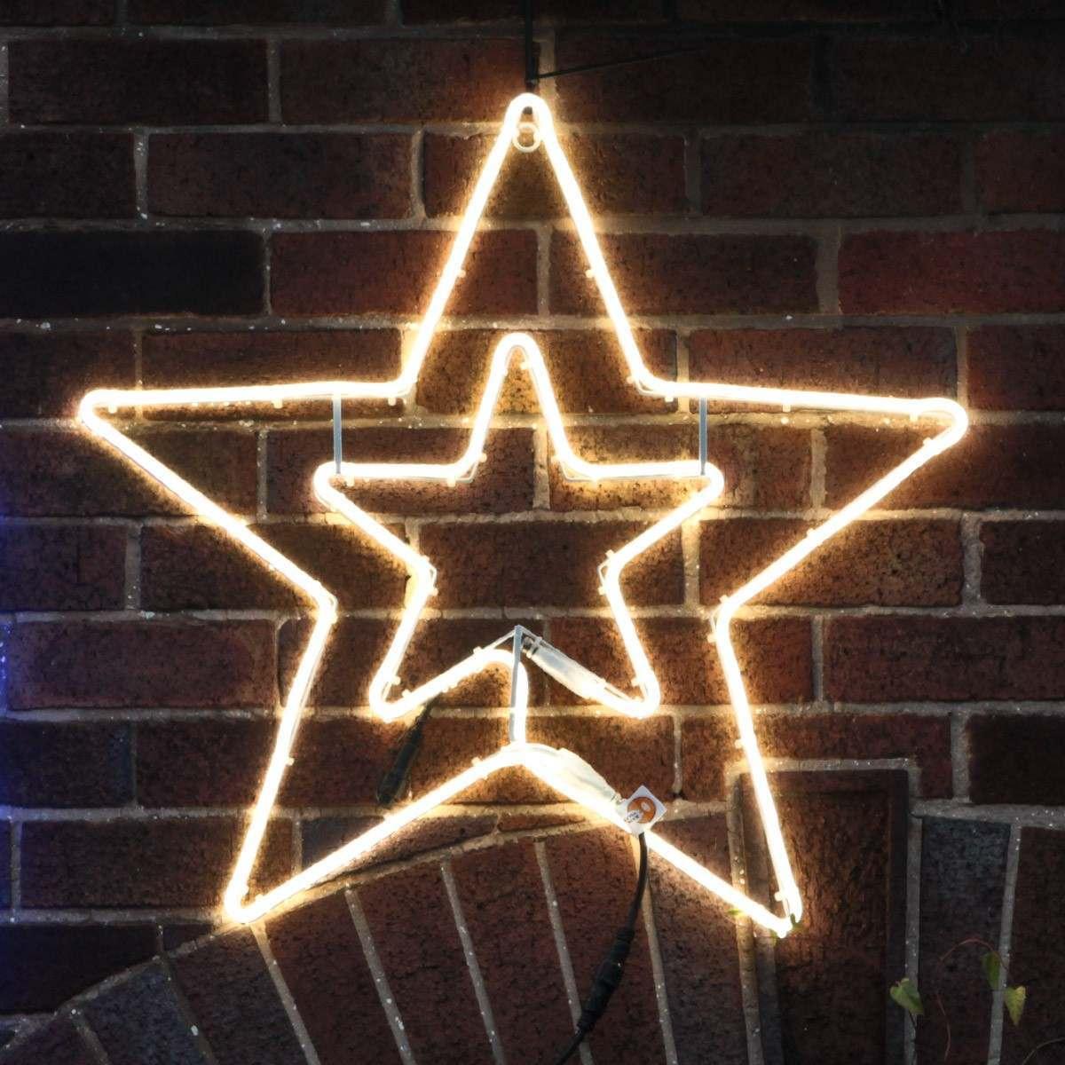 75cm White Neon Flex Double Star Silhouette, 240 LEDs