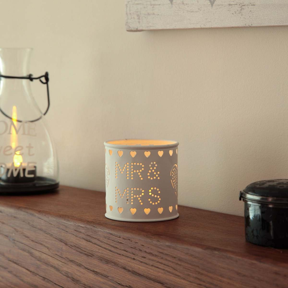 Click to view product details and reviews for Metal Mr Mrs Tea Light Holder With Tea Light.