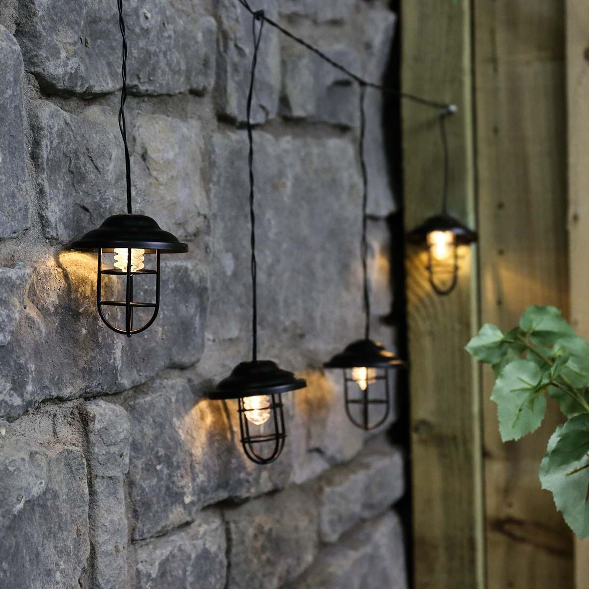 Outdoor Metal Plug In Lantern String Lights, Warm White LEDs, 1m
