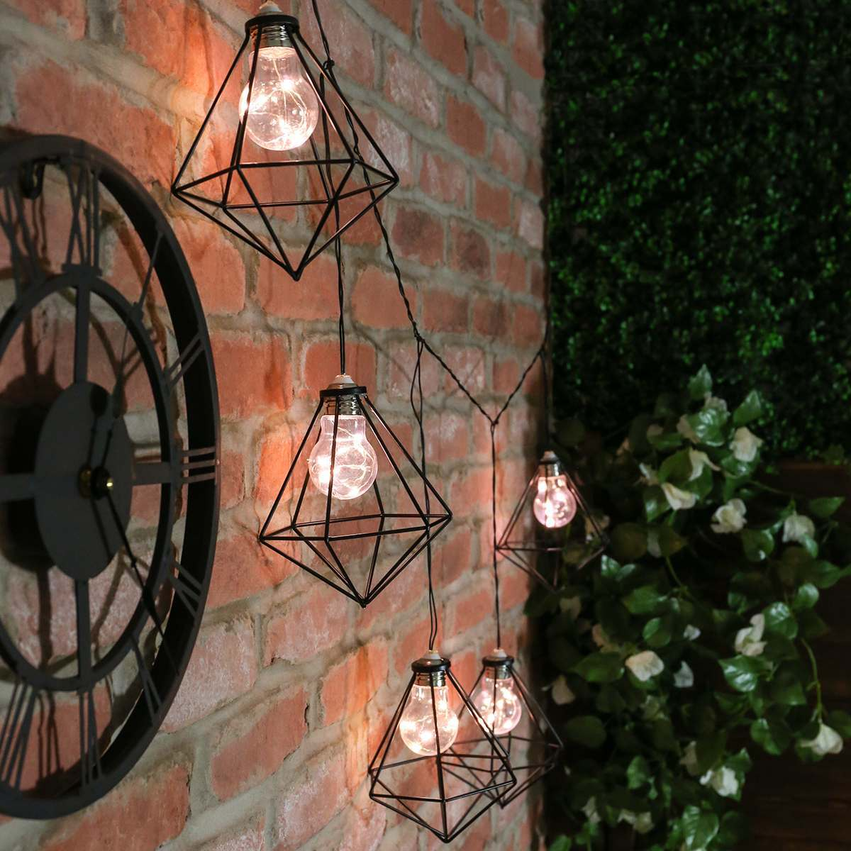 Metal String Lights Outdoor : Outdoor Metal Plug In Diamond Cage String Lights, Warm White LEDs, 1m