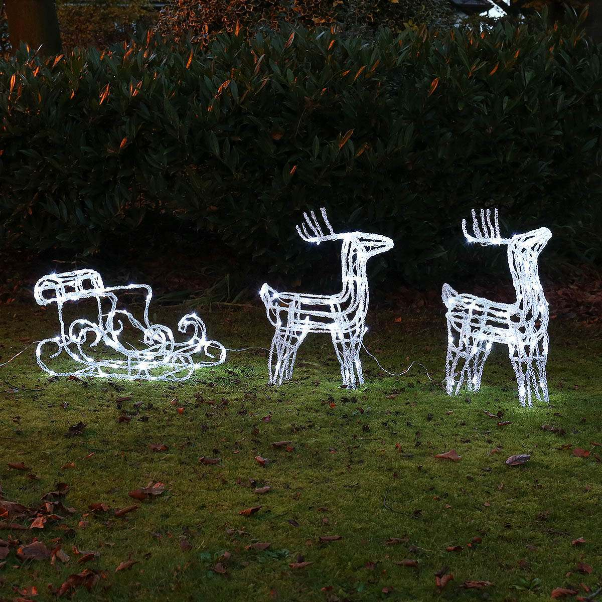 Click to view product details and reviews for 2 Acrylic Reindeer With Sleigh Christmas Figure.