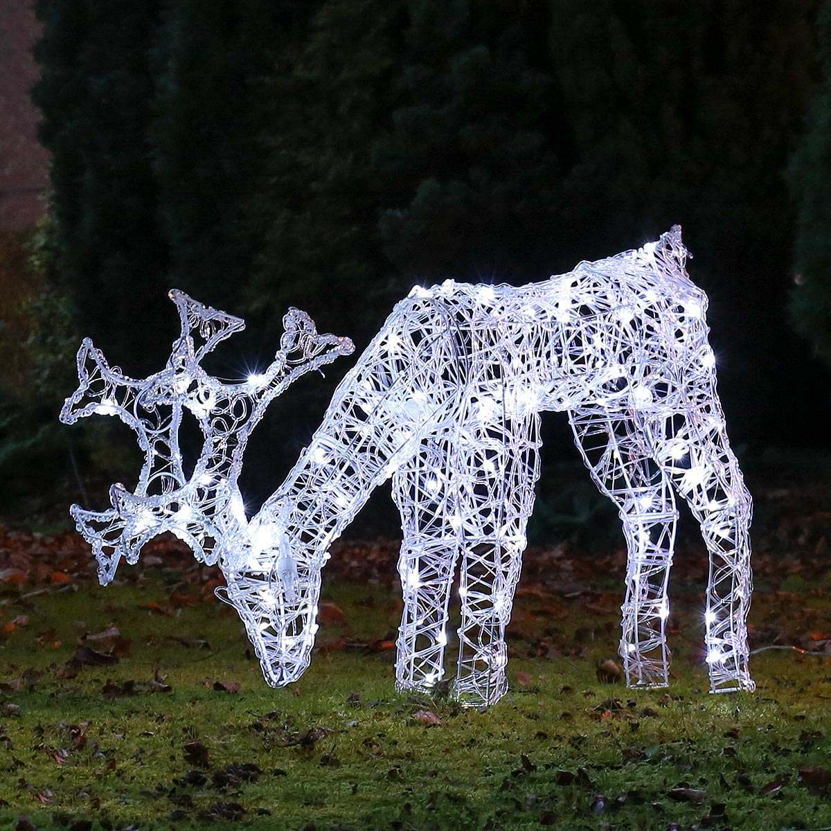 Click to view product details and reviews for 80cm Outdoor Acrylic Grazing Reindeer Figure White Leds.