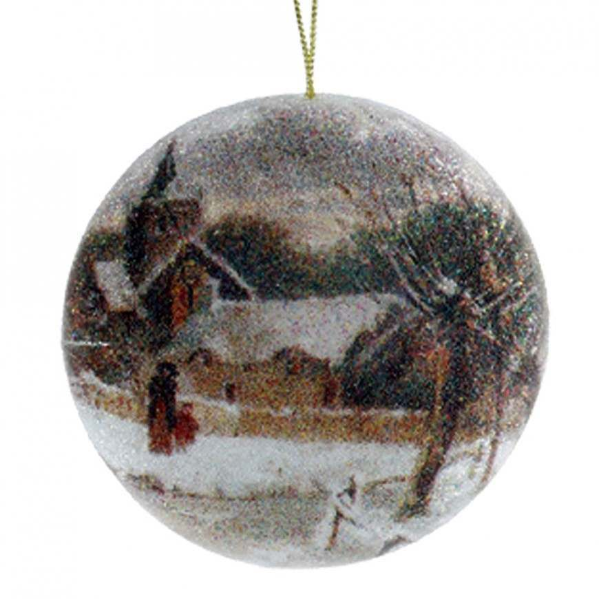 Click to view product details and reviews for 10cm House Scene Disc Beaded Ball Ornament.