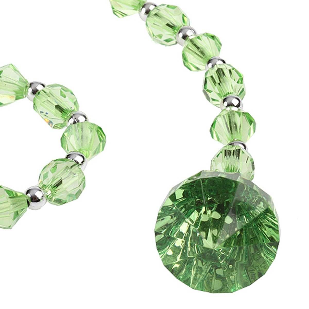 38cm short garland with diamond drop ends green