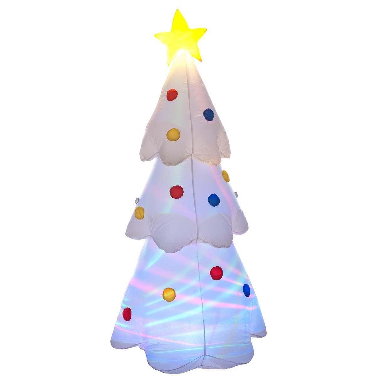 6ft White Inflatable Disco Lights Christmas Tree Figure