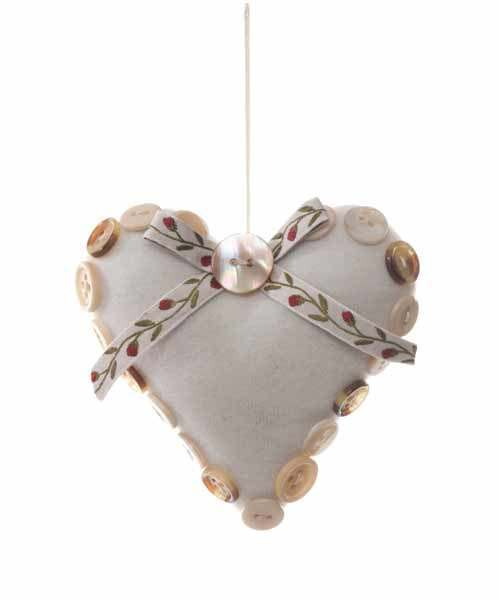 10cm Padded Heart Decoration with White Button Detail