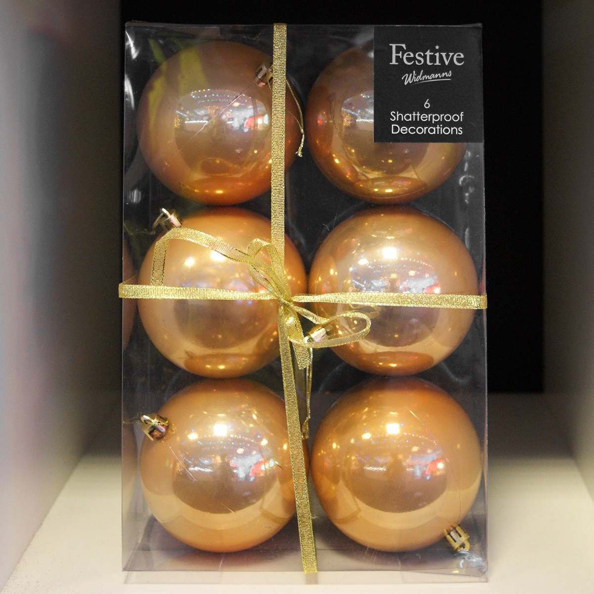 Click to view product details and reviews for 6 X 10cm Warm Gold Gloss Balls.