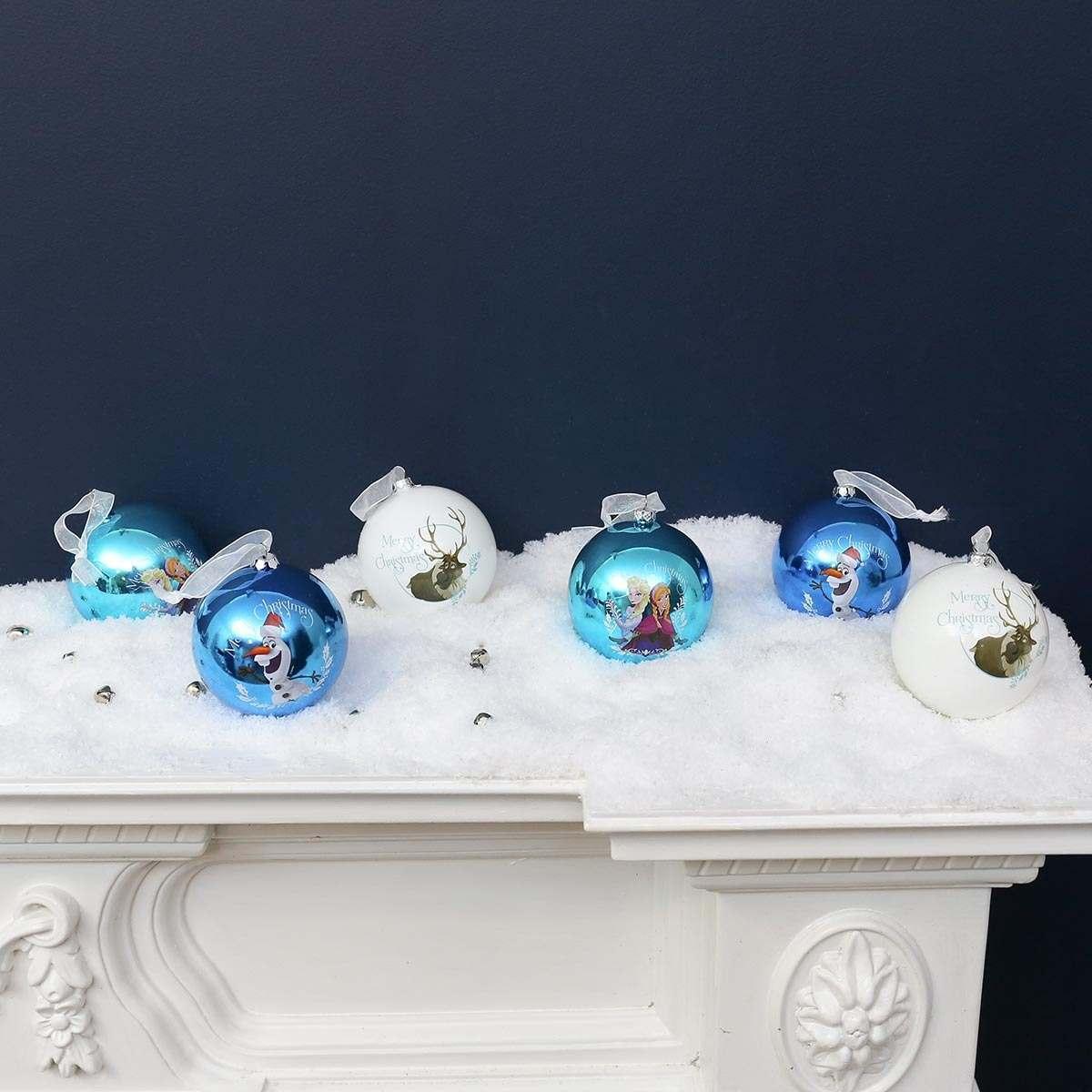 6 X 80mm Assorted Frozen Shatterproof Christmas Tree Baubles