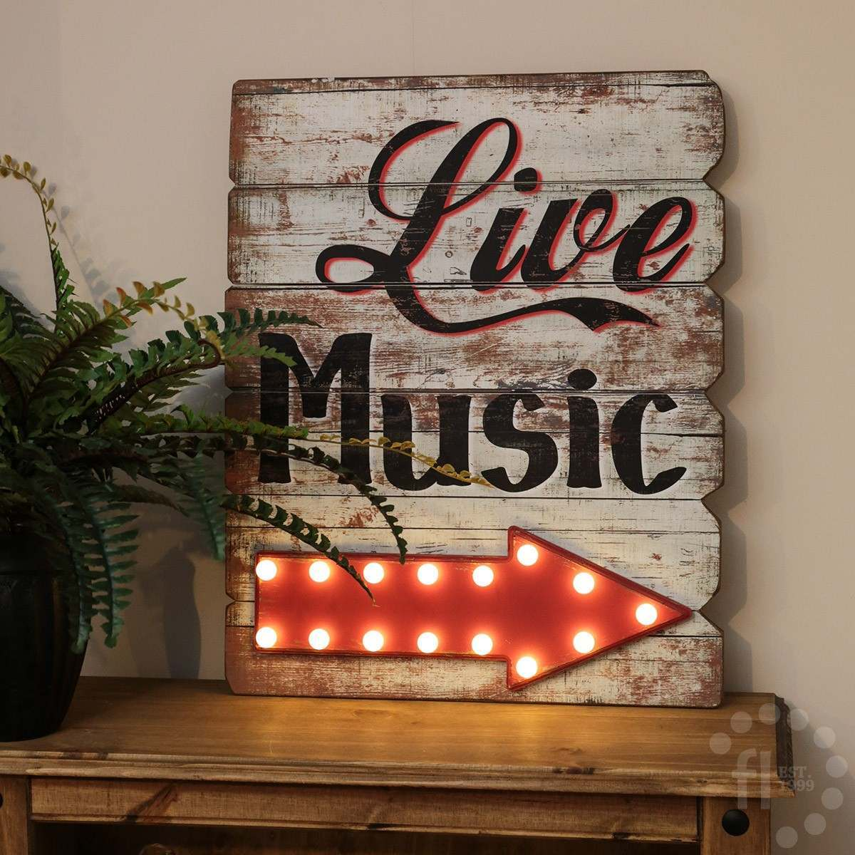 Click to view product details and reviews for Live Music Wooden Battery Led Sign 53cm.