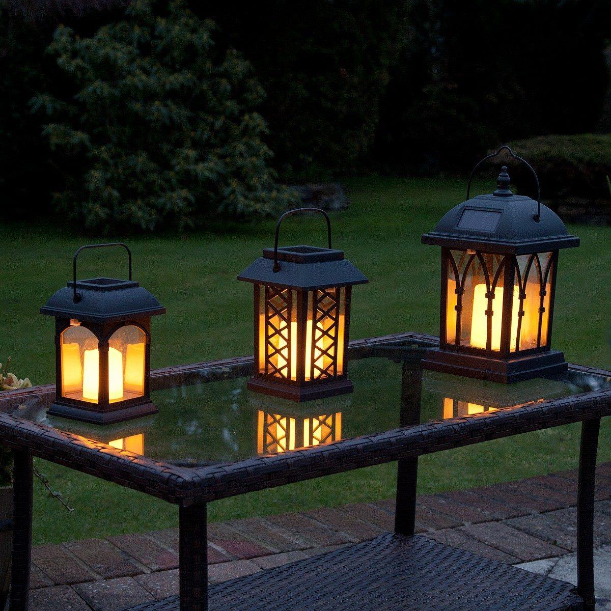 Solar Flickering Candle Lantern Amber Led 3 Pack