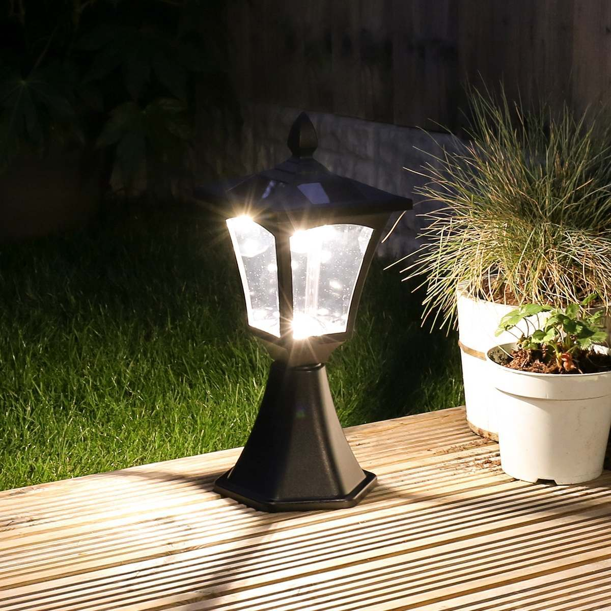Click to view product details and reviews for Black Solar Post Base Mount Light Warm White Leds 42cm.