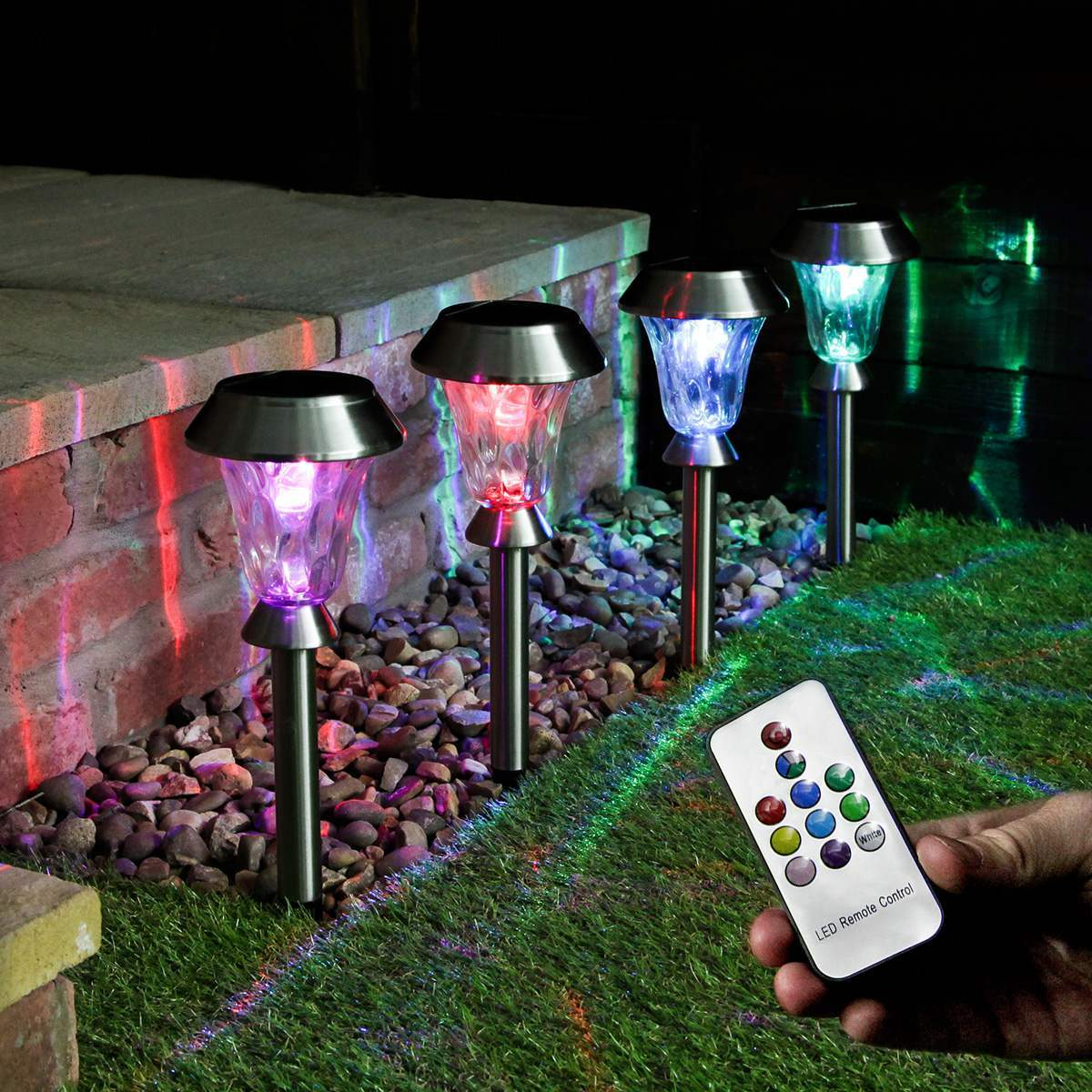 Solar Garden Stake Lights with Remote Control 4 Pack
