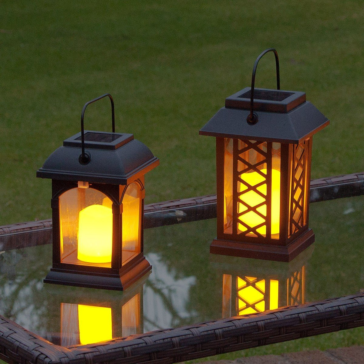 Solar Flickering Candle Lantern Amber Led 2 Pack