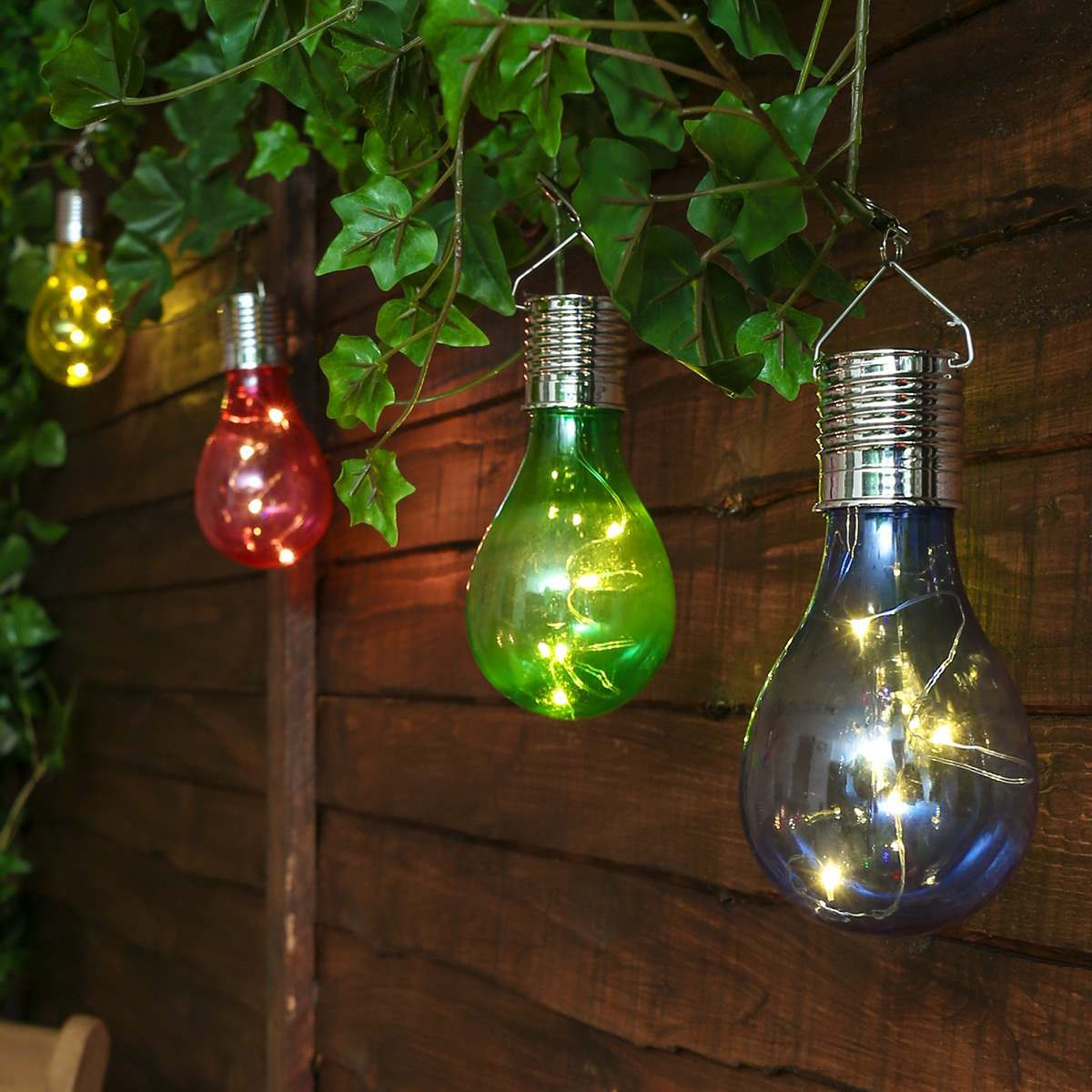 Solar Hanging Festoon Bulb, Multi Coloured, 4 Pack
