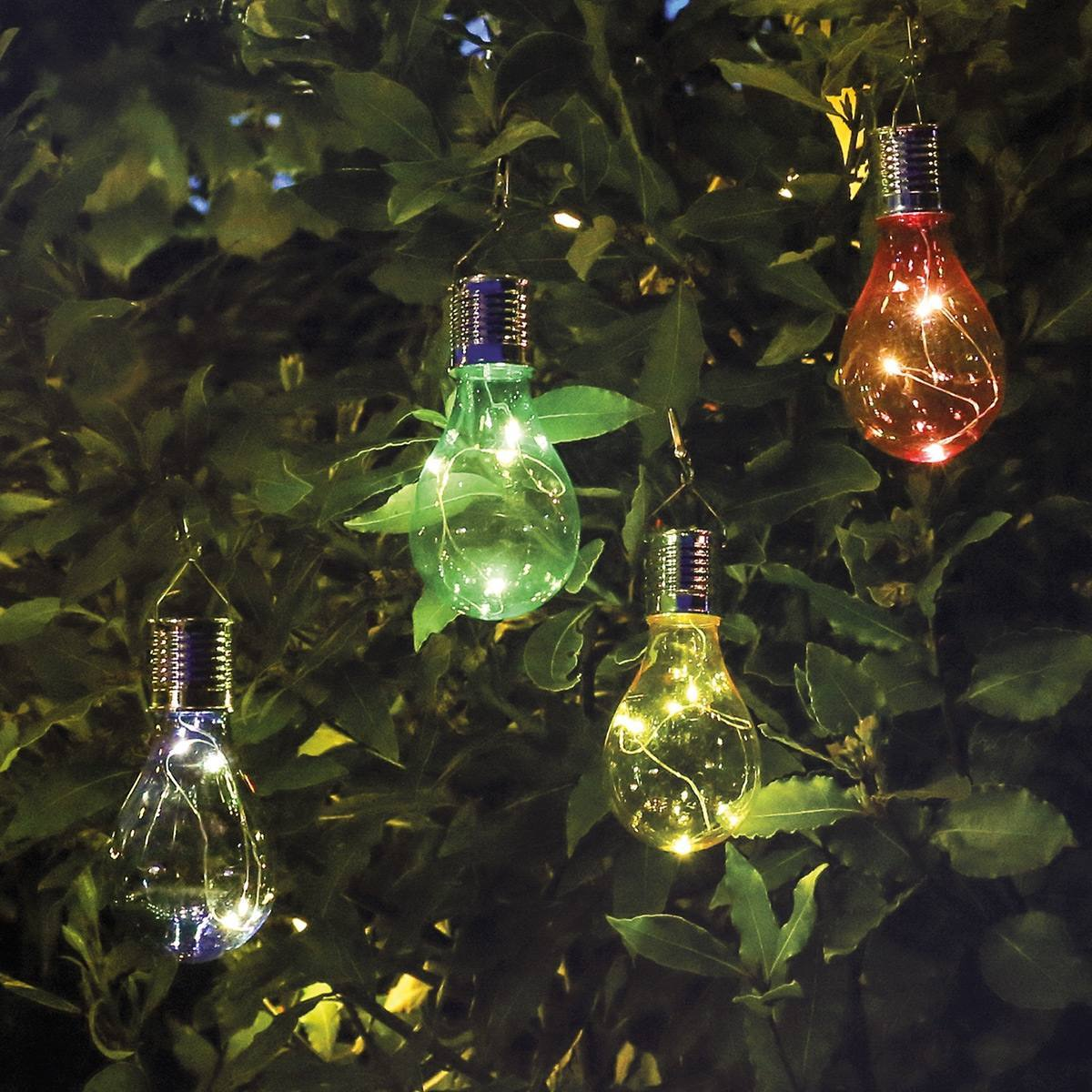 Solar Hanging Festoon Bulb Multi Coloured 4 Pack 15cm
