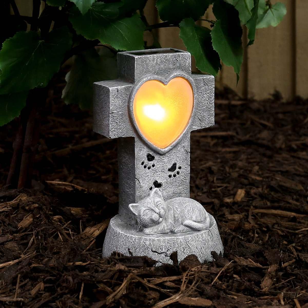Solar Cat Memorial Light 21cm