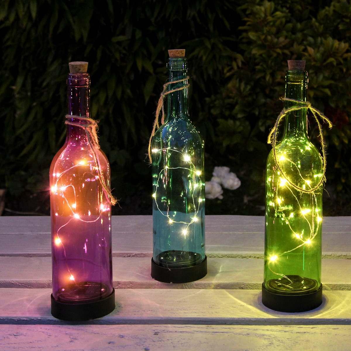 Lights in a bottle lights in a wine bottle wine bottles for Diy solar wine bottle lights