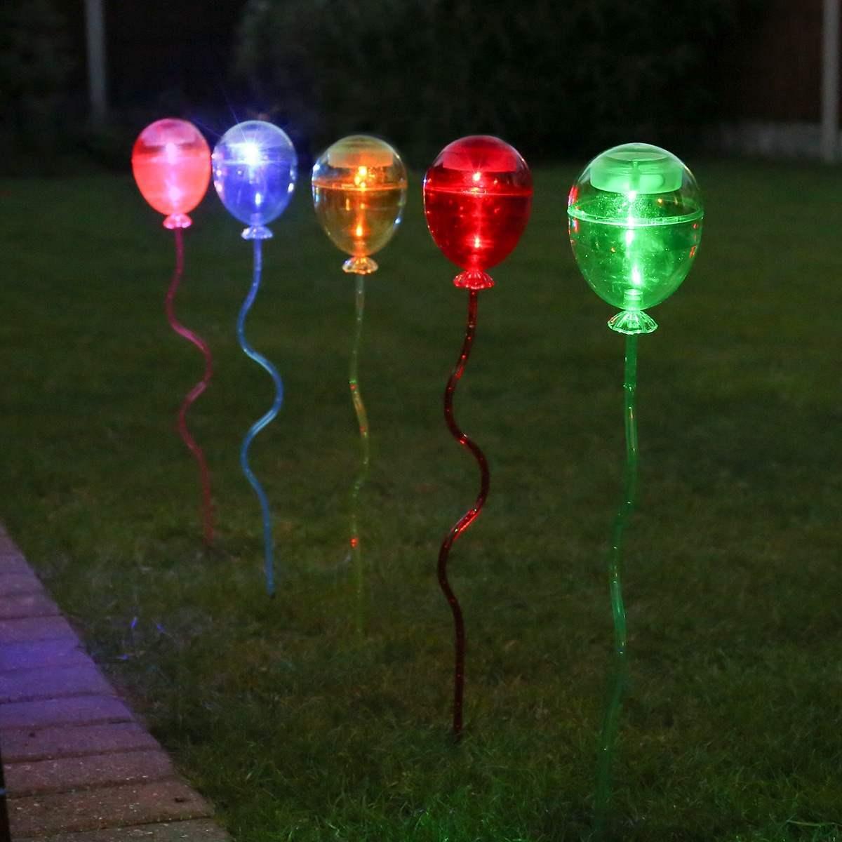 Solar Balloon Garden Stake Lights 5 Pack 60cm