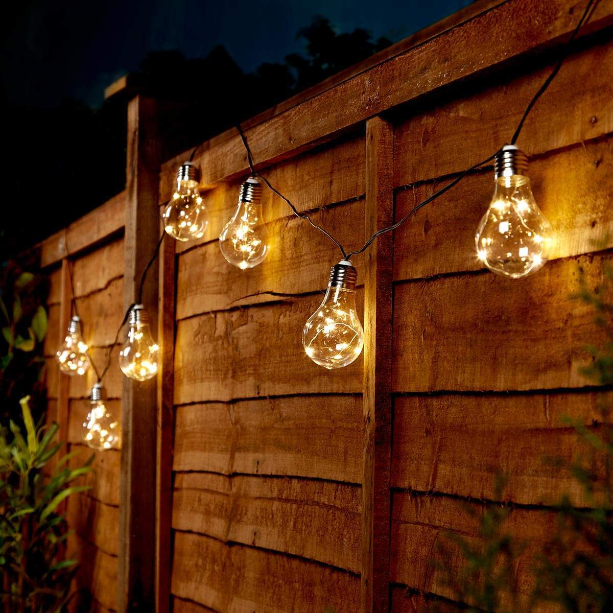 Solar Powered Festoon Fairy Lights 50 Warm White Leds 10