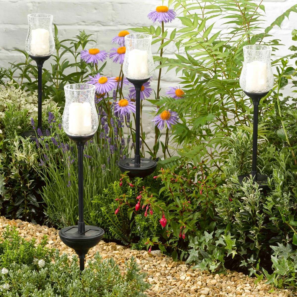 Smart Garden Solar Glass Candle Stake Lights 2 Pack