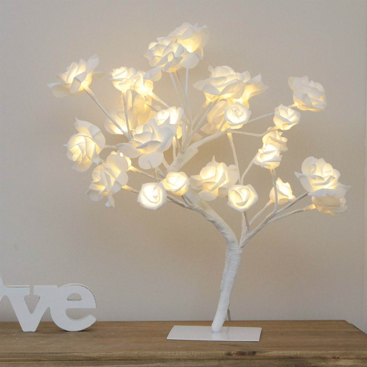 45cm Pre Lit White Rose Tree With 32 Warm White Leds