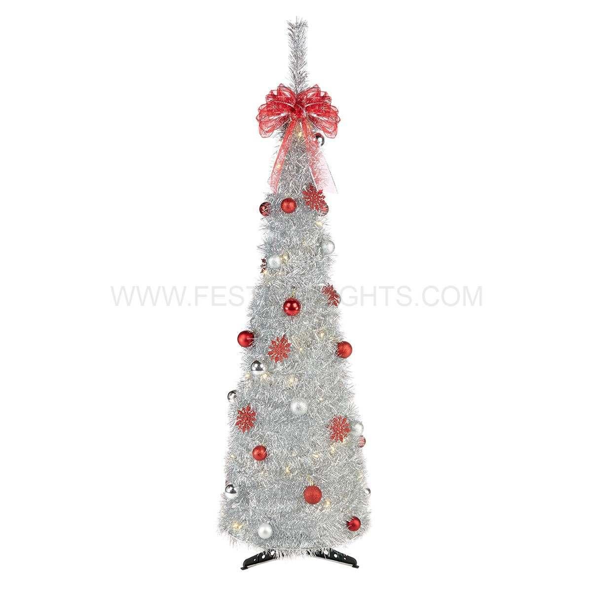 18m silver pre lit pop up christmas tree with decorations retail supplies villagefetes. Black Bedroom Furniture Sets. Home Design Ideas