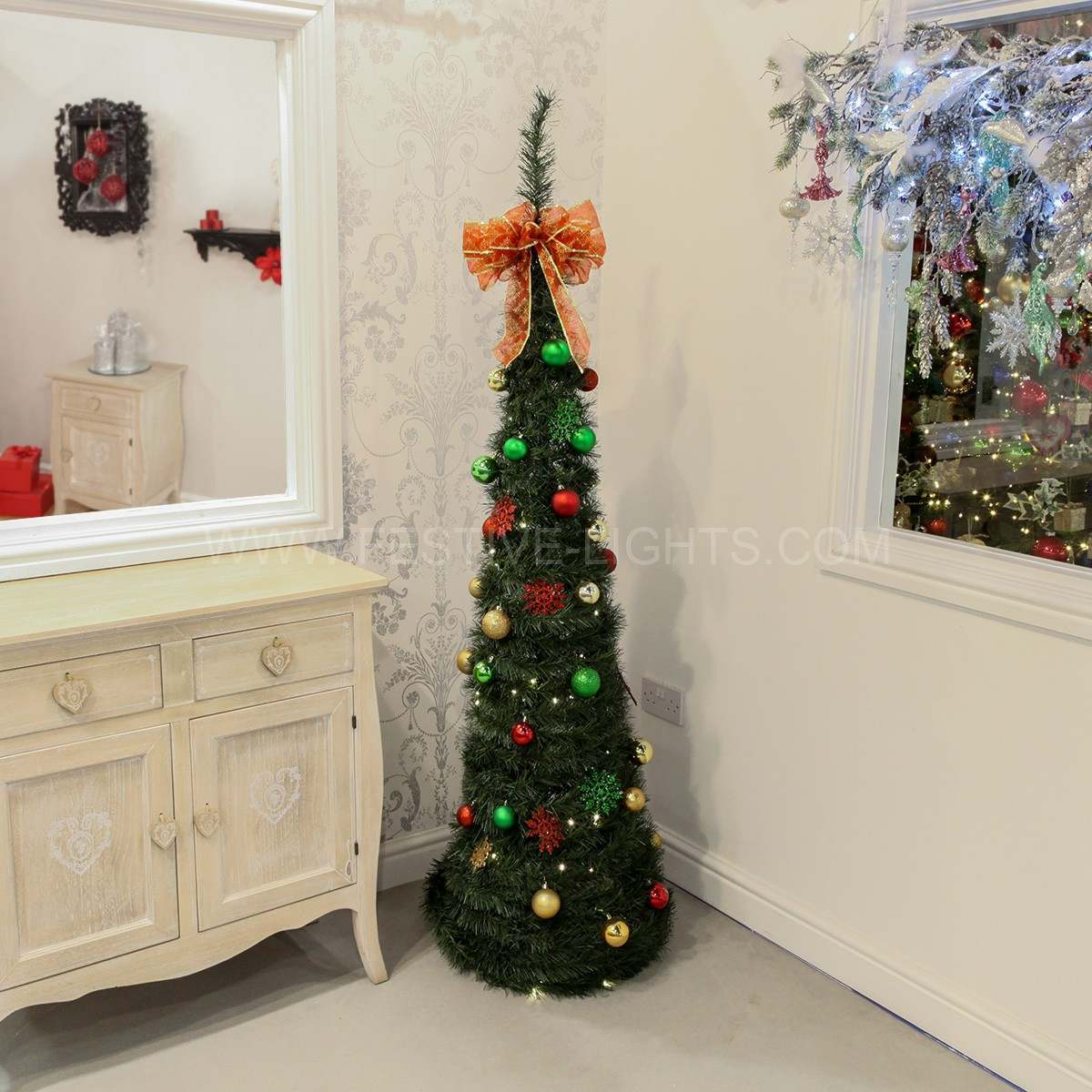 18m silver pre lit pop up christmas tree with decorations. Black Bedroom Furniture Sets. Home Design Ideas