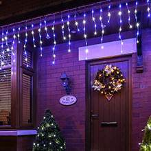 Blue & White Christmas Icicle lights