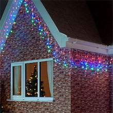 Christmas icicle lights buy stunning led icicle lights from festive multi coloured christmas icicle lights mozeypictures Image collections